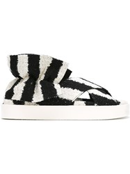 Msgm Striped Sandals Black