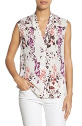 Women's Halogen Pleat V Neck Shell White Pink Spliced Floral