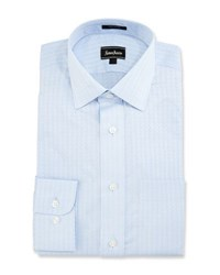 Neiman Marcus Woven Rope Classic Fit Dress Shirt Blue