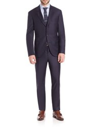 Brunello Cucinelli Solid Wool Suit Navy