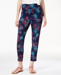 Roxy Juniors' Printed Cropped Pants Dark Blue