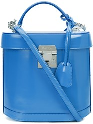 Mark Cross Removable Strap Structured Tote Women Leather One Size Blue