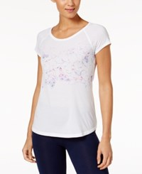 Ideology Floral Print Performance T Shirt Created For Macy's Bright White