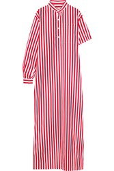 Balenciaga Striped Cotton Poplin Maxi Dress Red