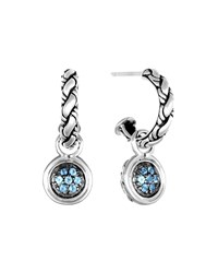 John Hardy Kepang Silver Lava Drop Earrings With Swiss Blue Topaz Women's