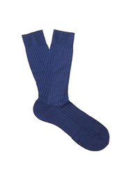 Pantherella Danvers Ribbed Knit Socks Blue