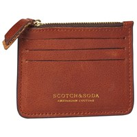 Scotch And Soda Leather Credit Card Holder Chestnut