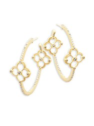 Freida Rothman Classic Cz And 14K Gold Plated Sterling Silver Clover Station Hoop Earrings