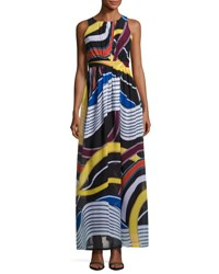 Catherine Malandrino Back Cutout Sleeveless Maxi Dress Multi Pattern
