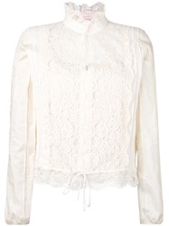See By Chloe Lace Victorian Neck Blouse Women Cotton 40 Nude Neutrals