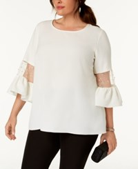 Msk Plus Size Faux Pearl Embellished Bell Sleeve Top Ivory Gold