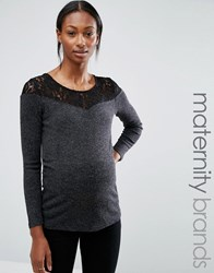 Mama Licious Mamalicious Maternity Top With Lace Trim Dark Grey Melange