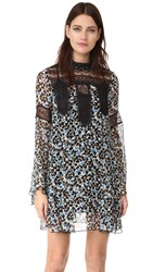 Anna Sui Clover Flower Mock Neck Dress Black Multi