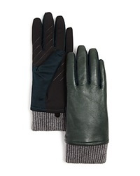 Urban Research Ur Leather Tech Gloves Black Pine Green