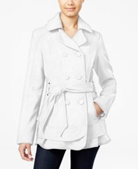 Celebrity Pink Hooded Belted Peacoat Ivory