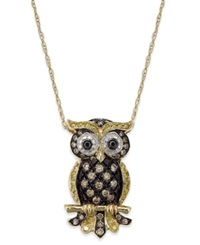 Macy's Diamond Owl Pendant Necklace In 14K Gold 1 3 Ct. T.W.