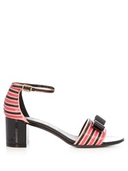 Salvatore Ferragamo Gavina Zigzag Trimmed Patent Leather Sandals Pink Multi