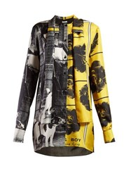 Jw Anderson X Gilbert And George Print Silk Blouse Yellow Multi