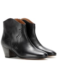 Isabel Marant Etoile Dicker Leather Ankle Boots Black