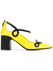 Fabrizio Viti Pointed Trimmed Pumps Women Calf Leather Leather 38 Yellow Orange