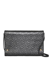 Burberry Small Monogram Leather Bag With Detachable Strap Black