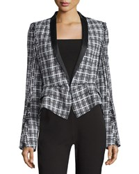 Haider Ackermann Shawl Collar Tweed Peplum Jacket Black White Size 40