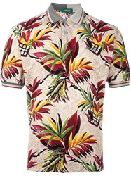 Kenzo Vintage Tropical Leaf Print Polo Shirt Multicolour