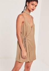 Missguided 2 Piece Choker Silky Wrap Dress Nude Taupe