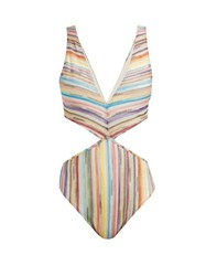 Missoni Mare Striped Cut Out Knitted Mesh Swimsuit Multi