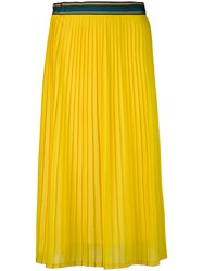 Paul Smith Pleated Midi Skirt Women Silk Polyamide Acetate 42 Yellow Orange