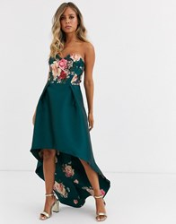 Chi Chi London Bardot Neck Prom Dress With High Low Hem In Green Floral Multi