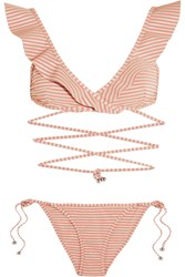 Zimmermann Caravan Ruffled Striped Bikini Antique Rose