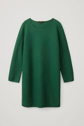 Cos Knitted Boiled Wool Dress Green