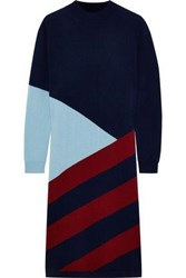 Chinti And Parker Intarsia Wool Cashmere Blend Dress Navy