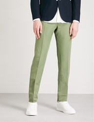 Slowear Slim Fit Tapered Linen And Cotton Blend Chinos Green