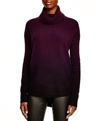 Aqua Cashmere Dip Dyed Marled Turtleneck Tunic Beet Red Blue Nights Dip Navy
