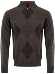 Cutter And Buck Men's Tonal Argyle Lined Windblock Sweater Charcoal