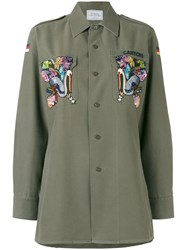 Forte Couture Eagle Embroidered Military Shirt Green
