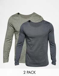 Asos Long Sleeve T Shirt With Scoop Neck 2 Pack Save 19 Multi