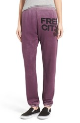 Women's Freecity 'Feather Glasswash' Sweatpants Purple Glass