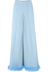 Rosamosario Peter Pan Love Feather Trimmed Silk Georgette Pajama Pants Sky Blue