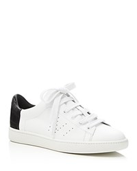 Vince Varin Embossed Low Top Lace Up Sneakers White Black