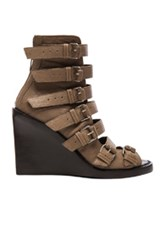 Ann Demeulemeester Buckle Wedge Heels In Brown