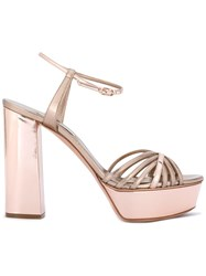 Casadei Metallic Platform Sandals Pink Purple