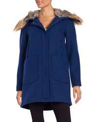 Vince Camuto Faux Fur Accented Wool Blend Coat Royal Blue