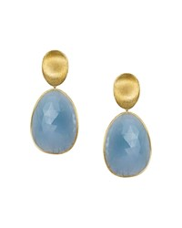 Marco Bicego 18K Yellow Gold Lunaria Drop Earrings With Aquamarine Blue Gold