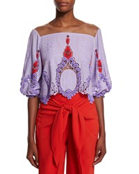 Johanna Ortiz Beaded Sheer Yoke Half Sleeve Top Lavender Red Size Small Lavendar Red