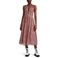 Robert Rodriguez Cayana Floral Pleated Midi Dress Pink