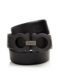 Salvatore Ferragamo Double Gancini Black Stone Belt Nero Black
