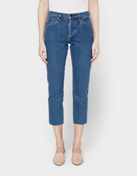Gold Sign Refit High Rise Cropped Straight Jean Marbled Blue